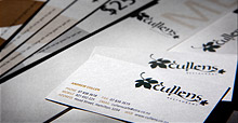Cullens menus, vouchers, business cards